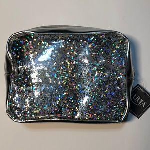 Silver Glittery Bling transparent makeup bag